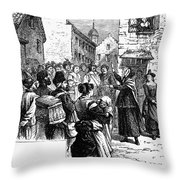 Quaker Preaching, 1657 Throw Pillow by Granger