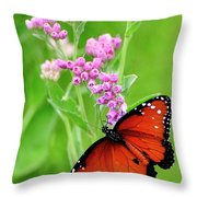Queen Butterfly And Pink Flowers Throw Pillow