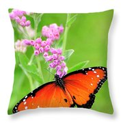 Queen Butterfly Wings With Pink Flowers Throw Pillow