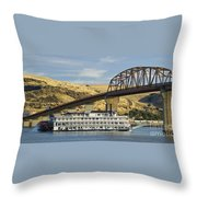 Queen Of The West Paddlewheeler Throw Pillow