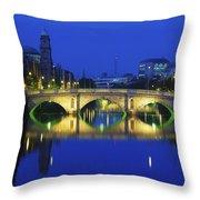 Queens Street Bridge, River Liffey Throw Pillow
