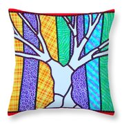 Quilted Winter Tree Throw Pillow
