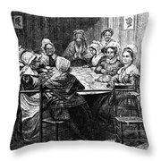 Quilting Party, 1864 Throw Pillow