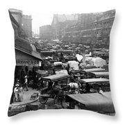 Quincy Market From Faneuil Hall - Boston - C 1906 Throw Pillow