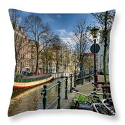 Raamgracht And Groenburgwal. Amsterdam Throw Pillow