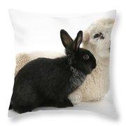 Rabbit And Lamb Throw Pillow
