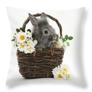 Rabbit In A Basket With Flowers Throw Pillow
