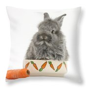 Rabbit In A Food Bowl With Carrot Throw Pillow