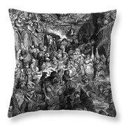 Rabelais: Gargantua And Pantagruel.  Illustration Of The Life Of Gargantua And Of Pantagruel By Fran�ois Rabelais. Wood Engraving, 1873, After Gustave Dor� Throw Pillow