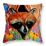 Raccoon And Butterfly Throw Pillow