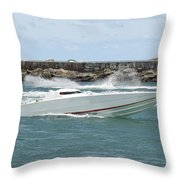 Race Boat Throw Pillow