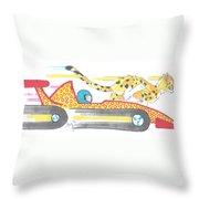 Race Car And Cheetah Cartoon Throw Pillow