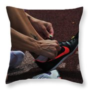 Race Preperations Throw Pillow