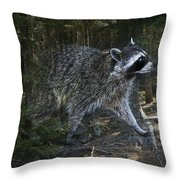 Racoon Emerging From The Woods Throw Pillow