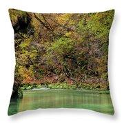 Radovna River In Vintgar Gorge Slovenia Throw Pillow