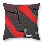 Raging Red Open Toed Stilettos Throw Pillow