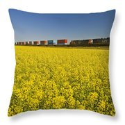 Rail Cars Carrying Containers Passe Throw Pillow