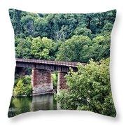 Railroad Bridge At East Falls Philadelphia Throw Pillow
