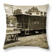 Railroad Car And Wagon Throw Pillow