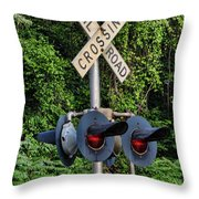 Railroad Crossing Light And Greenery Throw Pillow