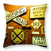Railroad Talk Throw Pillow