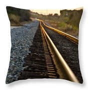 Railroad Tracks At Sundown Throw Pillow