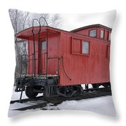 Railroad Train Red Caboose Throw Pillow