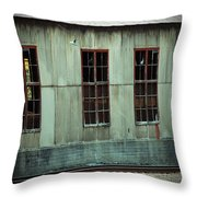 Railroad Woodshed Throw Pillow