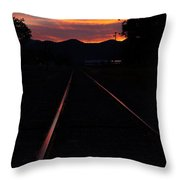 Rails Into The Rogue Sunset Throw Pillow