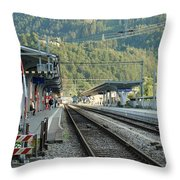 Railway Station West Interlaken Switzerland Throw Pillow