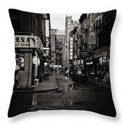 Rain - Pell Street - New York City Throw Pillow