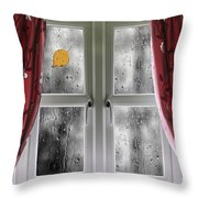 Rain On A Window With Curtains Throw Pillow