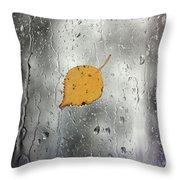 Rain On Window With Leaf Throw Pillow