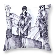 Rainbow 1920s Fashions Throw Pillow