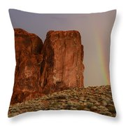 Rainbow And Red Rock Throw Pillow