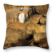 Rainbow At Bridal Veil Throw Pillow