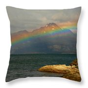 Rainbow At The End Of The World  Throw Pillow
