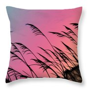 Rainbow Batik Sea Grass Gradient Silhouette Throw Pillow