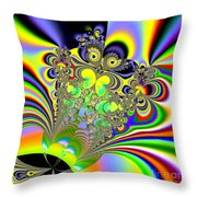 Rainbow Butterfly Bouquet Fractal 56 Throw Pillow
