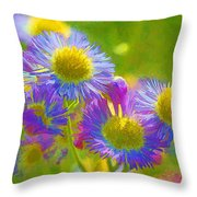 Rainbow Colored Weed Daisies Throw Pillow