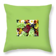 Rainbow Floral Display Throw Pillow