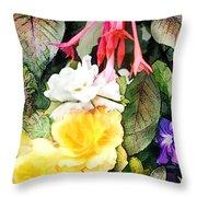 Rainbow Flower Basket Throw Pillow