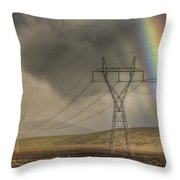 Rainbow Forms Over Powerlines Throw Pillow