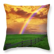 Rainbow In Country Field With Gold Throw Pillow