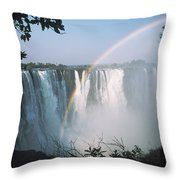 Rainbow In Front Of Victoria Falls Throw Pillow