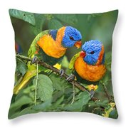 Rainbow Lorikeet Pair Throw Pillow