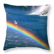 Rainbow On Niagara Falls Throw Pillow