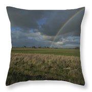 Rainbow Over Fields At Kangaroo Island Throw Pillow