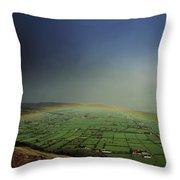 Rainbow Over Fields In Slieve Gullion Throw Pillow
