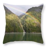 Rainbow Over Forest, Endicott Arm Throw Pillow
